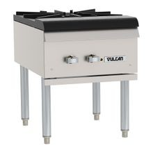 Vulcan VSP100 Stock Pot Range, 18 W x 24 D x 23 H, (1) cast iron two-ring burner, individual manual controls, cast iron top grate, standing pilot