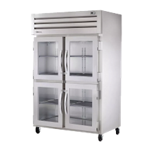TRUE STR2R-4HG-HC SPEC SERIES Refrigerator, Reach-in, two-section, stainless steel front & sides, (4) glass half doors with locks, cam-lift hinges