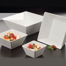 BOWL 7X3.5H SQUARE WHITE MELAMINE