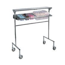 Lakeside 2600 Tray Starter Station, mobile, designed to position over conveyor, solid top shelf, angled stainless steel panel with cutouts that hold