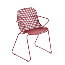 Grosfillex US137712 Ramatuelle '73 Armchair, stackable, lattice design resin back, solid resin seat, powder-coated steel legs UV and weather resistant