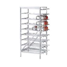 Advance Tabco CR10-162 Can Rack, stationary design with bullet feet, with sloped glides for automatic can retrieval, designed for #10 & #5 cans, aluminum