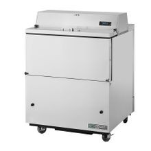 TRUE TMC-34-S-HC Mobile Milk Cooler, FORCED-AIR, (8) crates, stainless steel drop front/hold-open flip-up lids, lock, 33-38F, stainless exterior