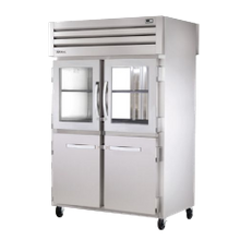 TRUE STA2RPT-2HG/2HS-2G-HC SPEC SERIES Pass-thru Refrigerator, two-section, stainless steel front/sides, (2) glass & (2) stainless steel half doors