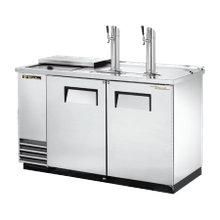 TRUE TDD-2CT-S-HC Club Top Draft Beer Cooler, (2) keg capacity, stainless steel counter top & lid over refrig. well, stainless steel exterior & (2)
