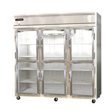 Continental 3F-GD-HD Freezer, display, three-section, self-contained refrigeration, aluminum exterior & interior, stainless steel front, standard