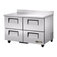 TRUE TWT-48D-4-HC Work Top Refrigerator, two-section, stainless steel top with rear splash, front & sides, (4) drawers each accommodate (1) 12x18x6
