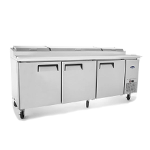 Atosa MPF8203 Atosa Refrigerated Reach-In Pizza Prep Table, three-section, self-contained refrigeration, 26.0 cu. ft. capacity