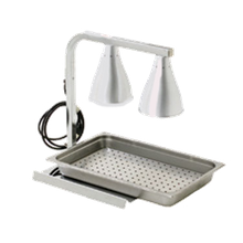 Eagle BW-2-120I-X RedHots Heat Lamp, portable, 2 bulb C-frame, chrome plated steel, with drain insert, bottom plate & pan, 120v/60/1-ph, 500 watts