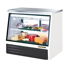 TRUE TSID-48-2-L Counter-Height Deli Case, see-thru, stainless steel top, Low-E front & (2) rear doors, white laminated vinyl exterior with stainless