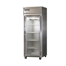Continental 1FS-GD Freezer, display, one-section, self-contained refrigeration, aluminum exterior & interior, stainless steel front, shallow depth