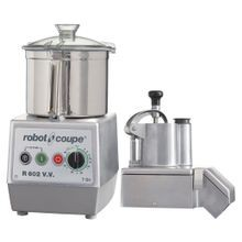 Robot Coupe R602VV Combination Food Processor, 7 qt. liter stainless steel bowl with handle, continuous feed kit with kidney shaped & cylindrical