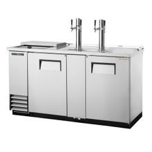 TRUE TDD-3CT-S-HC Club Top Draft Beer Cooler, (3) keg capacity, stainless steel counter top & lid over refrig. well, stainless steel exterior & (2)
