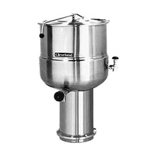 Cleveland KDP40 Kettle, direct steam, 40-gallon capacity, 2/3 steam jacket design, pedestal base, stainless steel exterior finish, 2