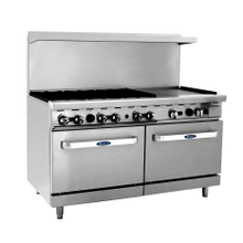 Atosa ATO-6B24G CookRite Gas Range, 60'', (6) 25,000 BTU open burners and 24'' griddle on the right