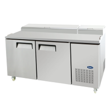 Atosa MPF8202 Atosa Refrigerated Reach-In Pizza Prep Table, two-section, self-contained refrigeration, 20.0 cu. ft. capacity