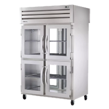 TRUE STR2RPT-4HG-2G-HC SPEC SERIES Pass-thru Refrigerator, two-section, stainless steel front & sides, (4) glass doors front & (2) glass doors rear