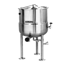 Cleveland KDL200 Kettle, direct steam, 200-gallon capacity, 2/3 steam jacket design, open tri-leg base, stainless steel exterior finish, 2