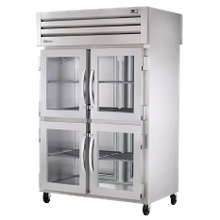 TRUE STA2R-4HG-HC SPEC SERIES Refrigerator, Reach-in, two-section, stainless steel front & sides, (4) glass half doors with locks, cam-lift hinges