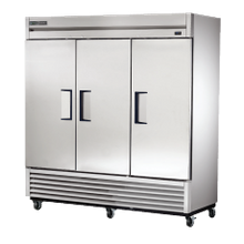 TRUE T-72-HC Refrigerator, Reach-in, three-section, stainless steel doors, stainless steel front, aluminum sides, aluminum interior with stainless