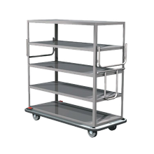 Metro MQ-512F Queen Mary Cart, (5) flat shelves, with handles, all welded 16 gauge stainless steel, bumper, (4) 8