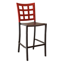 Grosfillex US046202 Plazza Stacking Barstool, window back design, aluminum seat and frame, footrest, powder coated finish, apple red with charcoal sea