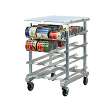 New Age 1227 Can Storage Rack, mobile, half-size, aluminum construction with Poly top, sloped glides, accommodates (72) #10 cans or (96) #5 cans, (2)