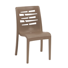 Grosfillex US218181 Essenza Stacking Chair, designed for outdoor use, air molding technology resin, nylon footpads, recyclable, ASTM and BIFMA