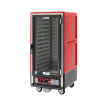 Metro C537-CFC-U C5 3 Series Heated Holding & Proofing Cabinet, with Red Insulation Armour, mobile, 3/4 height, insulated, clear polycarbonate