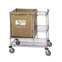 Metro LXHR-PRO Lodgix Pro Houserunner Cart, modular design, linen bag shelf (can hold glass racks), wire undershelf (2) wire side shelves, push