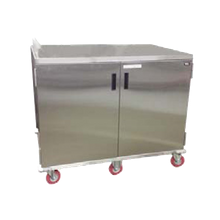 Carter-Hoffmann ETDTT28 Economy Patient tray cart; stainless steel, two doors, corner bumpers; two trays per slide; adjustable tray slides accept 14