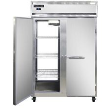 Continental 2R-PT Refrigerator, pass-thru, two-section, self-contained refrigeration, stainless steel front, aluminum interior & ends, standard