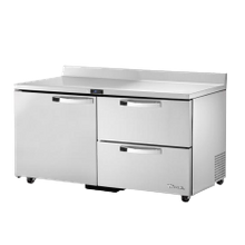 TRUE TWT-60D-2-ADA-HC ADA Compliant Work Top Refrigerator, two-section, stainless steel top with rear splash, front & sides, (2) drawers each