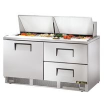 TRUE TFP-64-24M-D-2 Sandwich/Salad Unit, two section, self-contained, (24) 1/6 size (4