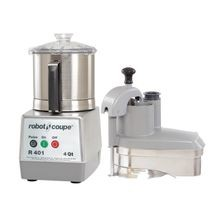 Robot Coupe R401 Combination Food Processor, 4.5 qt. stainless steel bowl with handle, continuous feed kit with kidney shaped & cylindrical shaped