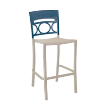 Grosfillex US456680 Moon Stacking Barstool, armless, design resined for outdoor use, wrought-iron design resin back, aluminum seat and frame