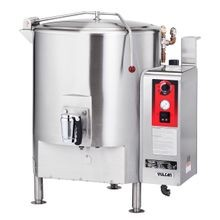 Vulcan GL40E Fully Jacketed Stationary Kettle, Gas, 40-gallon capacity, stainless steel spring assisted cover, 2