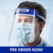 Reusable Protective Face Shield with PET Foam Strip and Adjustable Strap, FDA Approved