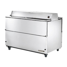 TRUE TMC-58-S-DS-HC Mobile Milk Cooler, FORCED-AIR, (16) crates, DUAL SIDED stainless steel drop front/hold-open flip-up lids, locks, 33-38F