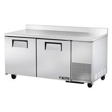 TRUE TWT-67F Deep Work Top Freezer, two-section, stainless steel top with rear splash, front & sides, (2) stainless steel doors, (4) shelves