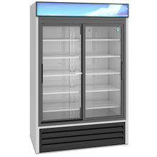 Hoshizaki RM-45-SD-HC Refrigerated Merchandiser, reach-in, two-section, 38.26 cu. ft., bottom mount self-contained refrigeration system