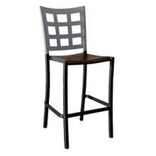 Grosfillex US046579 Plazza Stacking Barstool, window back design, aluminum seat and frame, footrest, powder coated finish, titanium gray with charcoal