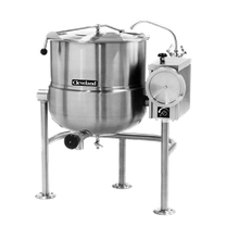 Cleveland KDL25T Kettle, direct steam, tilting, 25-gallon capacity, 2/3 steam jacket design, mounted on open tri-leg base, flanged feet, steam