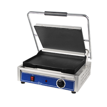 Globe GSG1410 Sandwich Grill, 14''x 10'', seasoned cast iron smooth griddle plates, stainless steel construction, on/off switch, heavy-duty hinge