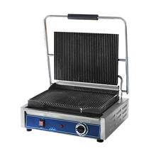 Globe GPG1410 Panini Grill, 14''x 10'', seasoned cast iron grooved griddle plates, on/off switch, heavy-duty hinge, adjustable stainless steel