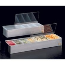 CONDIMENT HOLDER S/S WITH PLEXIGLAS LID 4 COMPARTMENT