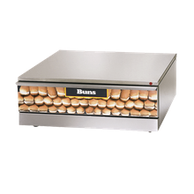 Star SST-30 Grill-Max Hot Dog Bun Warmer, capacity 48 buns, hidden temperature controls from 80F to 200F, full extension stainless slide