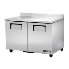 TRUE TWT-48-HC Work Top Refrigerator, two-section, stainless steel top with rear splash, front & sides, (2) stainless steel doors, (4) PVC coated