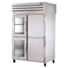 TRUE STG2RPT-2HG/2HS-2G-HC SPEC SERIES Pass-thru Refrigerator, two-section, stainless steel front, aluminum sides, (2) glass & (2) stainless steel
