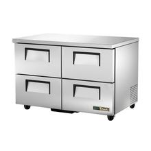 TRUE TUC-48D-4-HC Undercounter Refrigerator, 33-38 F, stainless steel top & sides, (4) drawers each accommodate (1) 12x18x6 food pan (NOT included)